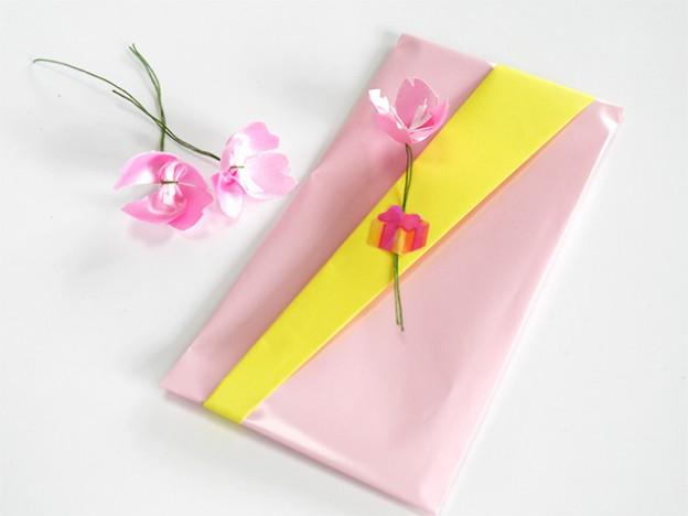 リボンを使った桜のポチ袋
