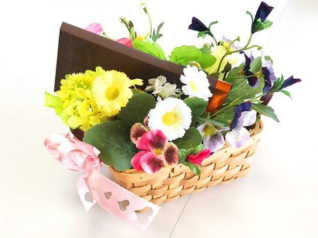 花かごを使ったギフトラッピング(バレンタインデー編)