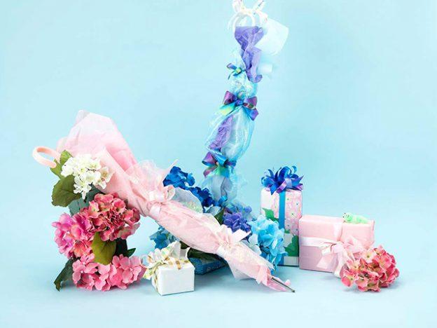 傘と紫陽花のラッピング&ディスプレイ